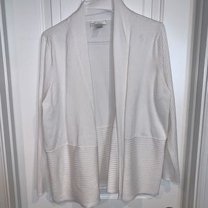 White ribbed fold front cardigan